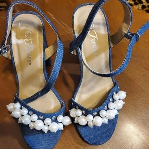 Ultra high  sandals n denimvwith pearls